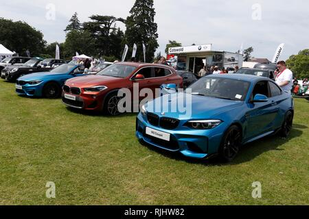 Cotswold BMW Mini cars on display at the Pied Piper Appeal Summer Show, held in the grounds of Highnam Court, near Gloucester. 10th June 2018 Picture  - Stock Photo