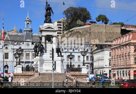 Chile, Valparaiso, Plaza Sotomayor, Heroes of Iquique Monument, Ex-Intendance, - Stock Photo