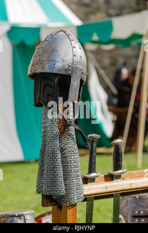 Chainmail body armour at a Re-enactment medieval festival - Stock Photo