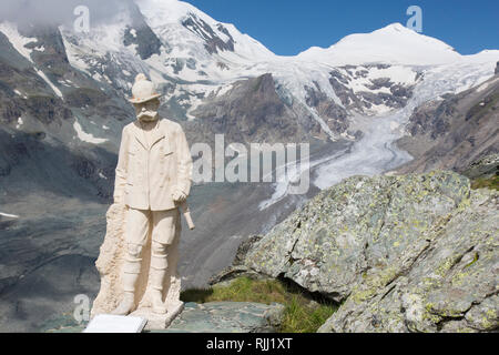 View of the Kaiser Franz Josef figure, the Pasterze glacier and the Johannisberg in the Hohe Tauern National Park, Kaernten, Austria - Stock Photo
