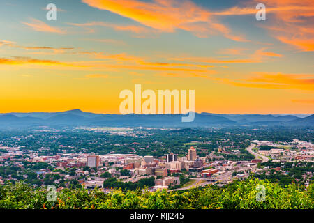 Roanoke, Virginia, USA downtown skyline from above at dusk. - Stock Photo