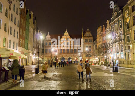 Zielona Brama, (Green Gate) Flemish Mannerist style, by Regnier of Amsterdam 1568, in snowy weather, at night, Długi Targ, Long Market, Gdańsk, Poland - Stock Photo