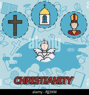 Christianity flat concept icons. Vector illustration, EPS 10 - Stock Photo