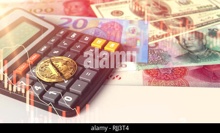 Broken or cracked Bitcoin laying on calculator with banknotes in the background. High taxes high risk and low revenues concept. 3D Rendering - Stock Photo