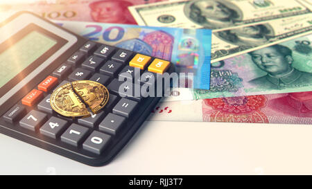 Cracked Bitcoin laying on calculator. High risk on cryptocurrency investments. 3D rendering - Stock Photo