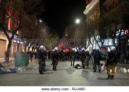 Greek riot police take up positioning against agitators during demonstrations regarding the Macedonian name dispute. Thessaloniki, Greece Jan 2019. - Stock Photo