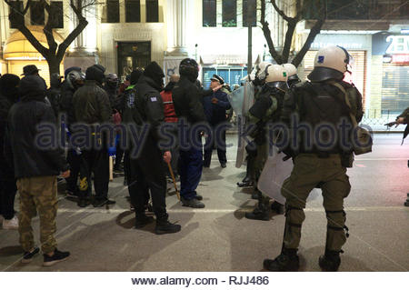 Greek riot police take up positioning against agitators during demonstrations regarding the Macedonian name dispute. Thessaloniki, Greece Jan 2019. - Stock Photo