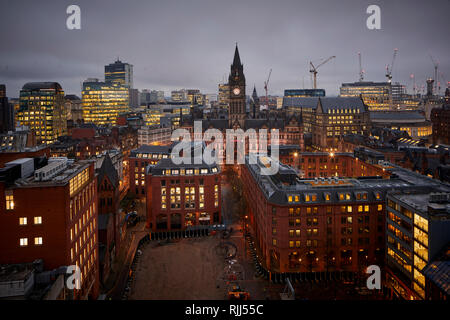 View from 125 Deansgate Looking down on The town Hall - Stock Photo