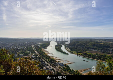 View at the Rhine from a mountain of the Siben Mountains - Germany - Stock Photo