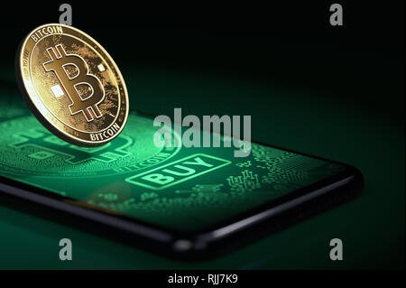 Golden bitcoin standing on a screen with big BUY button. Bitcoin buy opportunities concept. 3D rendering - Stock Photo