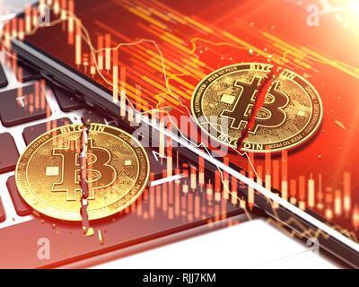 Two golden bitcoin coins laying on smartphone screen with red diagrams overlay. Bitcoin price decline concept. 3D rendering - Stock Photo