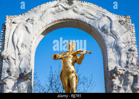 VIENNA, AUSTRIA - APRIL, 2018: Monument to Johann Strauss II at Stadtpark in a beautiful early spring day - Stock Photo