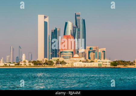 Abu dhabi, United Arab Emirates, December 1. 2017: Etihad Towers loom over the surrounding landscape. - Stock Photo