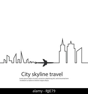 Airplane between the two cities and its track and skyline on white background. Vector illustration. Aircraft flight path and its route. tourism - Stock Photo