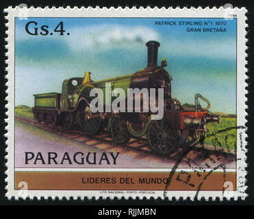 RUSSIA KALININGRAD, 22 APRIL 2017: stamp printed by Paraguay, shows locomotive, circa 1984 - Stock Photo