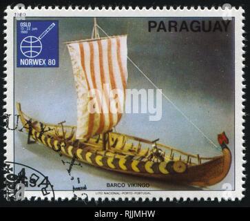 RUSSIA KALININGRAD, 22 APRIL 2017: stamp printed by Paraguay, shows sailboat, circa 1980 - Stock Photo