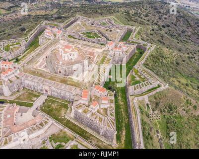 Aerial view of Fort of Santa Luzia in Alentejo, Portugal - Stock Photo