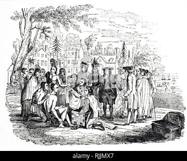An engraving depicting William Penn meeting the Native Americans. Sir William Penn (1644-1718) an English, real estate entrepreneur, philosopher, early Quaker, and founder of the English North American colony the Province of Pennsylvania. Dated 19th century - Stock Photo