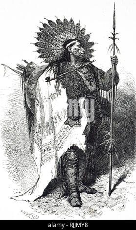An engraving depicting a Native American Chief. Dated 19th century - Stock Photo