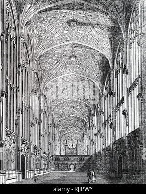 An engraving depicting the interior of King's College Chapel showing the fan vaulting. Dated 19th century - Stock Photo