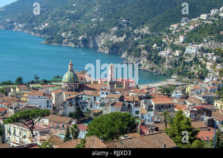 Landscape of Vietri sul Mare, beautiful town on Amalfi coast, Campania, Italy - Stock Photo