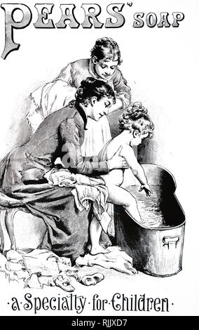 An advertisement for Pears' Soap claiming to be a speciality for children. Dated 19th century - Stock Photo