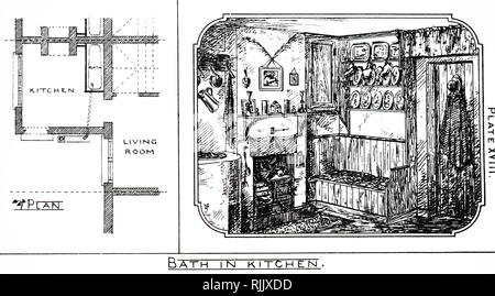 An engraving depicting a kitchen, which will be fitted with a bath, in the home of an artisan. Dated 19th Century
