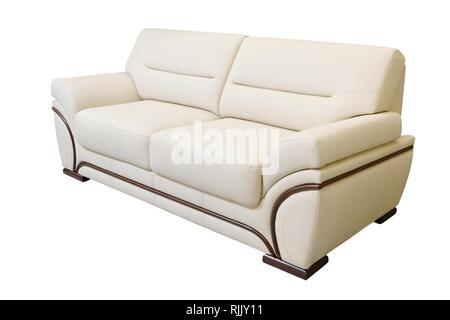 Ivory leather sofa isolated on white background - Stock Photo