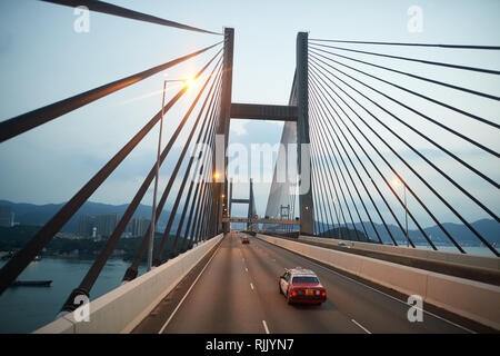 HONG KONG - SEPTEMBER 10, 2015: view from upper deck of double-decker bus. Hong Kong is an autonomous territory on the southern coast of China at the  - Stock Photo