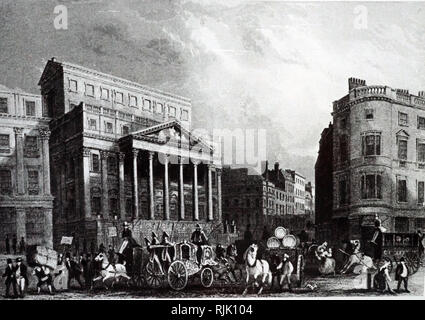 An engraving depicting the exterior of Mansion House, London, the official residence of the Lord Mayor of London. Dated 19th century - Stock Photo