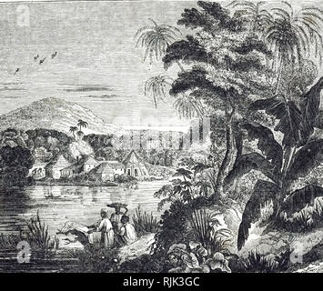 An engraving depicting a Jamaican sugarcane plantation during the sugar boom. African slaves harvested the sugar cane for their British owners. Dated 19th century - Stock Photo