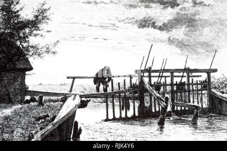An engraving depicting a weir with a movable bridge. This movable dam acted as a flash-lock. When a boat reached the weir from upstream, the paddles removed and the boat was carried over a shallow on the temporary depth supplied by the water that was released. Dated 19th century - Stock Photo
