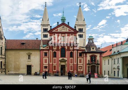 St. George's basilica, Prague Castle District, Czech Republic - Stock Photo
