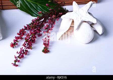 Colorful red branches, stones, candles, a green leaf and a bamboo mat on white background with copy space - Stock Photo