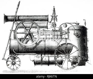 An engraving depicting Cail et Cie's steam locomotive. Dated 19th century - Stock Photo