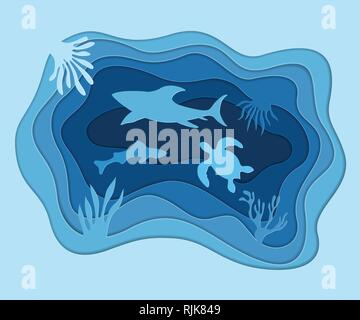 Underwater deep sea background with fish, shark, turtle and coral reefs. Digital paper cut style. Deep blue marine life, diving concept. Ocean life. - Stock Photo