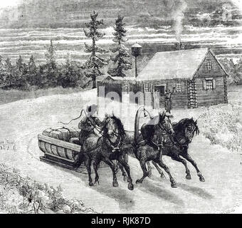 An engraving depicting a sleigh drawn by horses in Russia. Dated 19th century - Stock Photo
