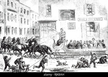 An engraving depicting a horse-drawn sleigh bus in New York. Dated 19th century - Stock Photo