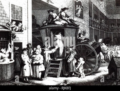 An engraving depicting passengers boarding a stagecoach in the yard of a typical galleried Inn thought to be in Chelmsford, Essex. Engraving by William Hogarth (d. 1764) an English painter, printmaker, pictorial satirist, social critic, and editorial cartoonist. Dated 18th century - Stock Photo