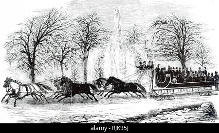 An engraving depicting a horse-drawn omnibus sleigh travelling through Central Park, New York. Dated 19th century - Stock Photo