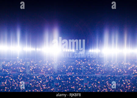 Camp Nou, Barcelona, Spain. 6th Feb, 2019. Copa del Rey football semi final, 1st leg, Barcelona versus Real Madrid; Supporters of FC Barcelona during the game Credit: Action Plus Sports/Alamy Live News - Stock Photo