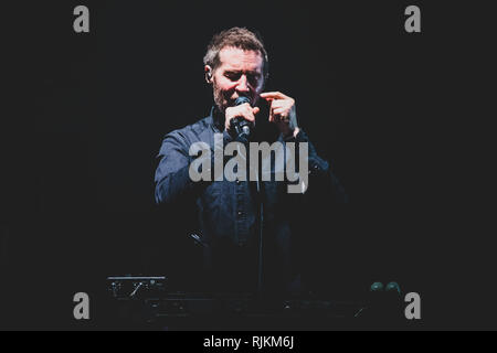 Milan, Italy. 6th February, 2019. Robert '3D' Del Naja, of the British trip hop group Massive Attack performing live on stage in Milan, at the Forum of Assago, for the 'Mezzanine' tour 2019 Credit: Alessandro Bosio/Alamy Live News - Stock Photo