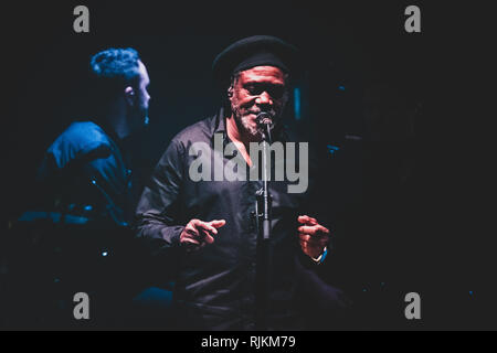 Milan, Italy. 6th February, 2019. Horace Andy, of the British trip hop group Massive Attack performing live on stage in Milan, at the Forum of Assago, for the 'Mezzanine' tour 2019 Credit: Alessandro Bosio/Alamy Live News - Stock Photo