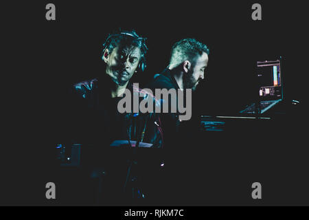 Milan, Italy. 6th February, 2019. Grant 'Daddy G' Marshall, of the British trip hop group Massive Attack performing live on stage in Milan, at the Forum of Assago, for the 'Mezzanine' tour 2019 Credit: Alessandro Bosio/Alamy Live News - Stock Photo