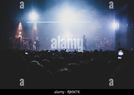 Milan, Italy. 6th February, 2019. The British trip hop group Massive Attack performing live on stage in Milan, at the Forum of Assago, for the 'Mezzanine' tour 2019 Credit: Alessandro Bosio/Alamy Live News - Stock Photo