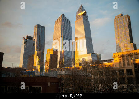 10 Hudson Yards, center left, 30 Hudson Yards, center right, and other development around Hudson Yards in New York on Wednesday, January 30, 2019. (© Richard B. Levine) - Stock Photo
