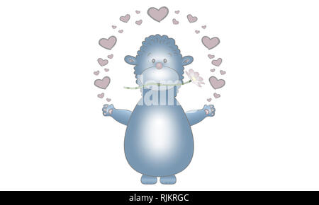 cute vector made illustration design of blue fantasy animal creature, with flower and hearts, isolated on white background - Stock Photo