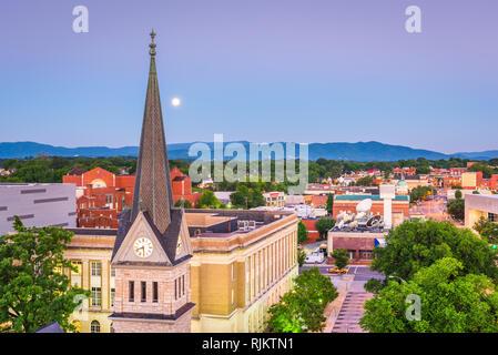Roanoke, Virginia, USA downtown skyline and steeple at dawn. - Stock Photo