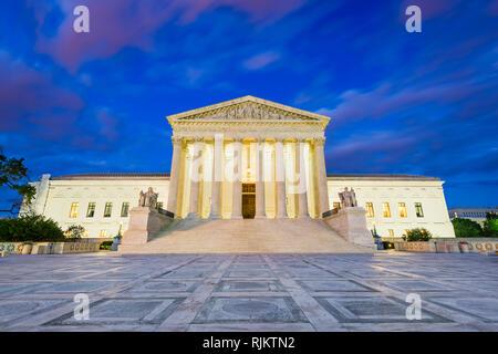 United States Supreme Court Building at dusk in Washington DC, USA.