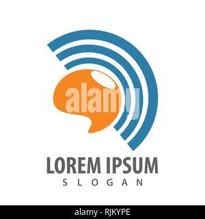 Technology signal communication logo concept design. Symbol graphic template element vector - Stock Photo